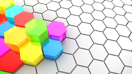 midsection: abstract 3d illustration of background with colorful hexagons