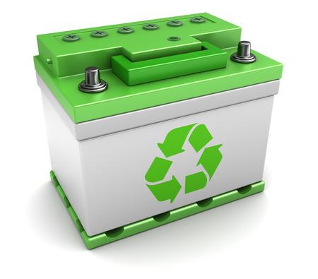 ecologic: 3d illustration of ecologic friendly car battery, over white background Stock Photo