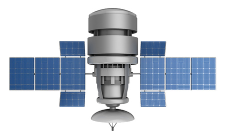 sattelite: 3d illustration of satellite isolated over white background Stock Photo