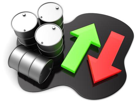 change concept: 3d illustration of oil barrels and arrows, oil price change concept