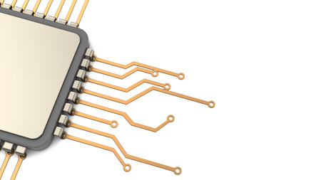 3d illustration of background with processor circuit and copy space