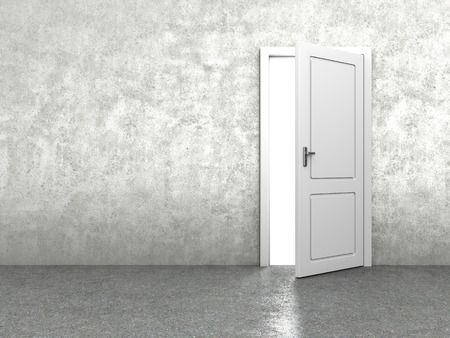 cement wall: 3d illustration of door in concrete wall Stock Photo