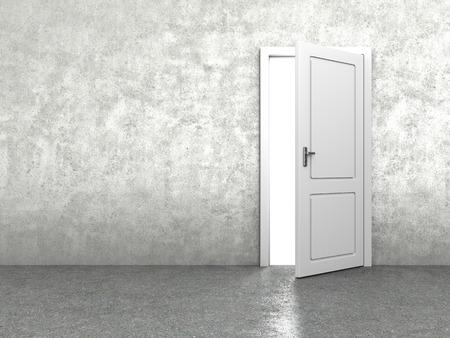 cemento: 3d ilustración de la puerta en el muro de cemento