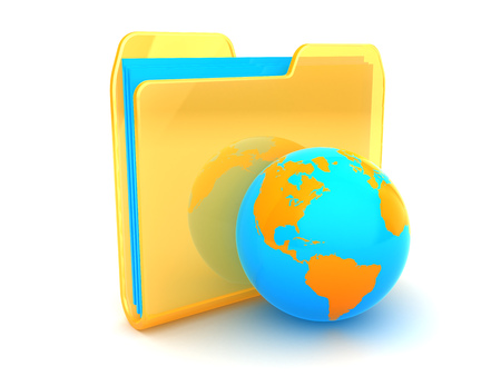 earth globe: 3d illustration of folder icon with earth globe