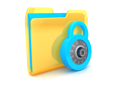 combination lock: 3d illustration of folder icon and combination lock