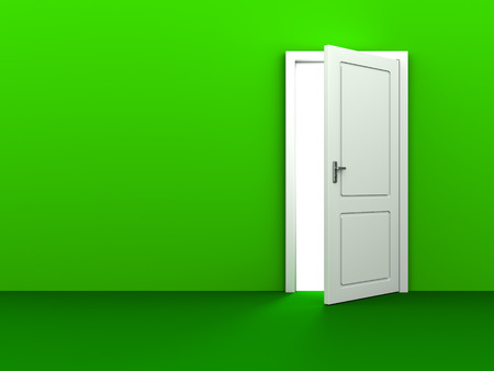 white door: 3d illustration of green background with copy space and white door