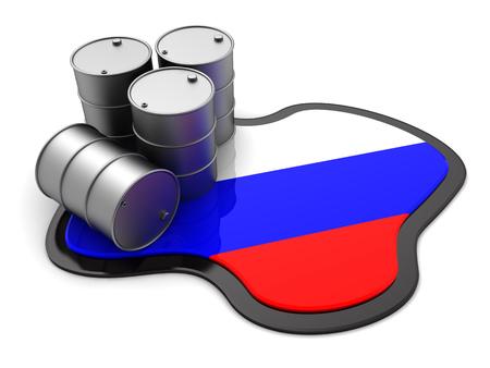disagreement: 3d illustration of oil barrels and Russia flag
