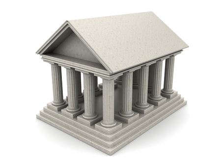 roman pillar: 3d illustration of ancient building with columns, over white background Stock Photo