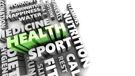 textcloud: 3d illustration of health components concept