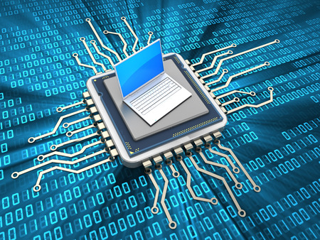 miniature: abstract 3d illustration of computer chip with laptop computer Stock Photo
