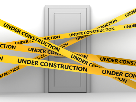 dangerous construction: 3d illustration of door to room and under consttruction tape