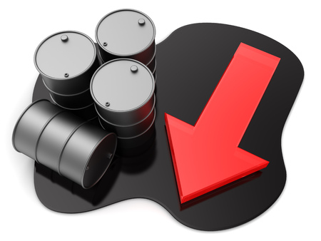 price drop: 3d illustration of oil barrels and red arrow, price drop concept