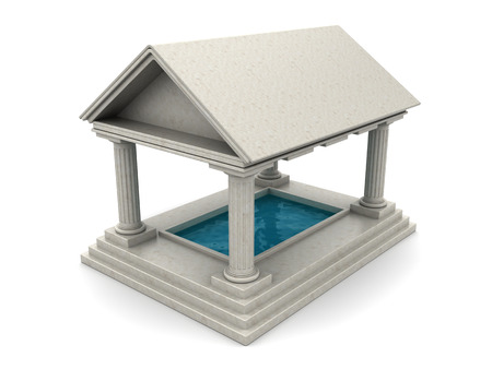 refelction: 3d illustration of ancient architecture pool