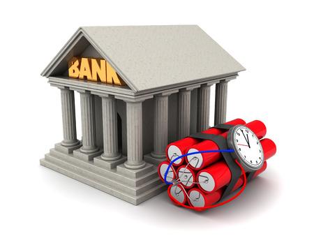 dinamita: 3d ilustraci�n de edificio del banco y la dinamita