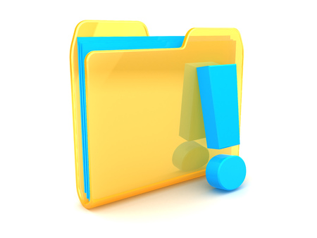 exclamation point: 3d illustration of folder with exclamation point Stock Photo