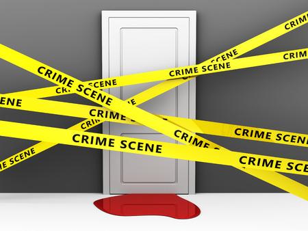 murdering: 3d illustration of crime scene concept
