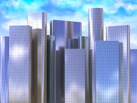 sky scraper: 3d illustration of skyscrapers background Stock Photo