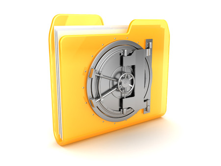 files: abstract 3d illustration of folder with vault door Stock Photo