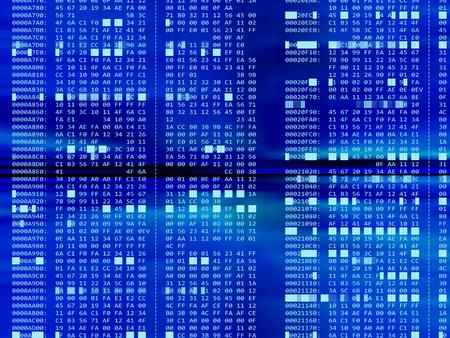hexadecimal: 3d illustration of hexadecimal code background Stock Photo