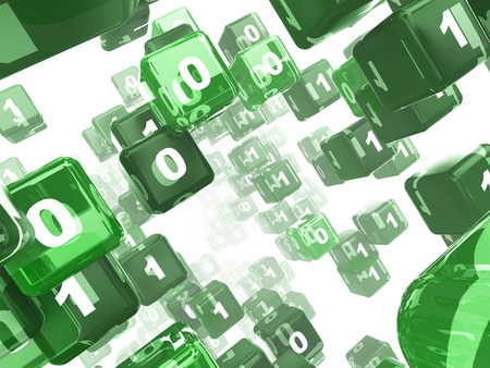 bits: 3d illustration of green cubes matrix over white background Stock Photo