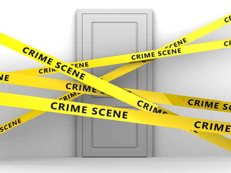 crime scene: 3d illustration of door and tape with text crime scene