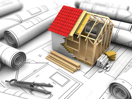 prefabricated: 3d illustration of house design project over blueprints background Stock Photo