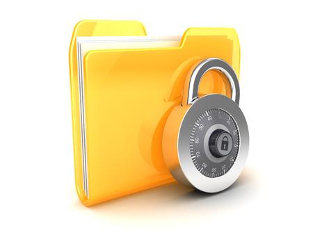 folder lock: 3d illustration of folder icon and combination lock