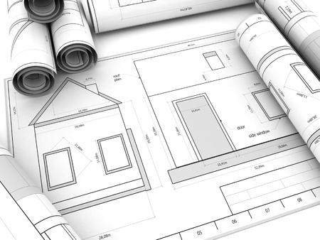 house blueprints: abstract 3d illustration of generic house blueprints background Stock Photo