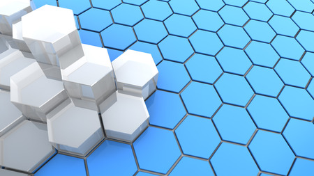 midsection: abstract 3d illustration of background with hexagons