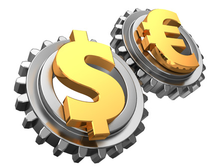 global settings: 3d illustration of dollar and euro gear wheels system