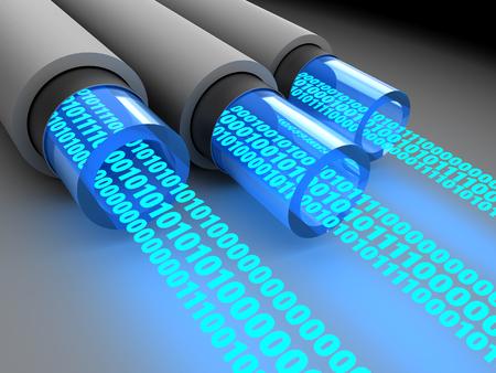 bandwidth: 3d illustration of fiber optics with binary data