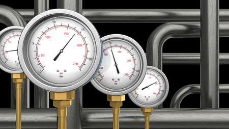pressure gauge: 3d illustration of manometers and pipes over black background Stock Photo