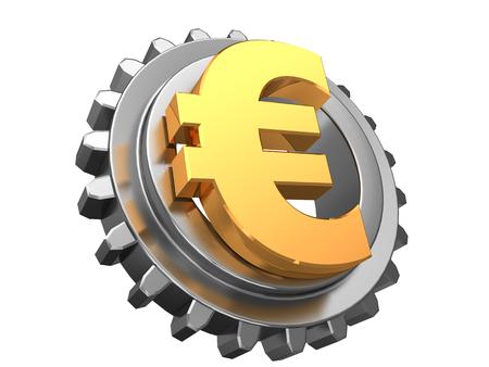 gear symbol: 3d illustration of gear wheel and euro symbol