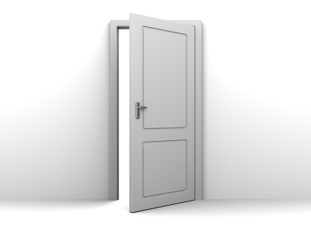 closed door: 3d illustration of half open door Stock Photo