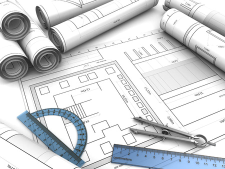 architectural design: 3d illustration of blueprints background with drawing tools