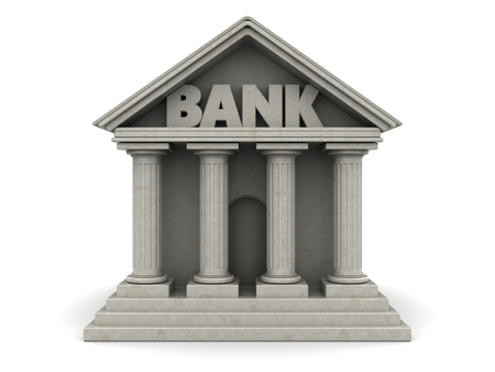 corporations: 3d illustration of bank building over white background