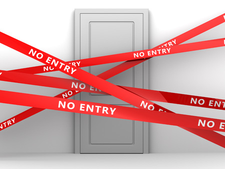 room door: 3d illustration of room door and no entry tape Stock Photo