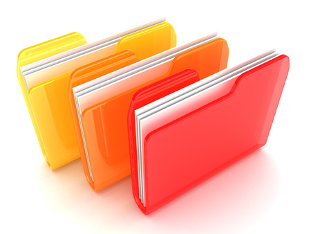 ornage: 3d illustration of three folders ornage and red colors