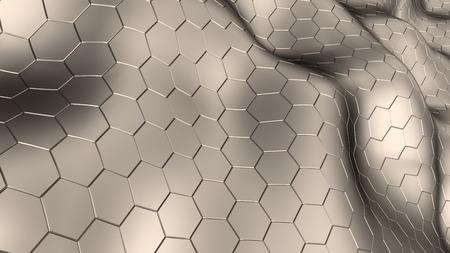 Ilustración 3d abstracto de fondo haxagons metálicos