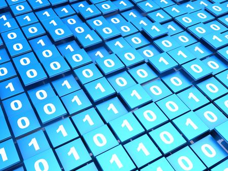 binary data: abstract 3d illustration of binary data