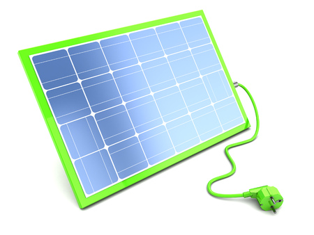 blue roof: 3d illustration of green solar panel and power cable