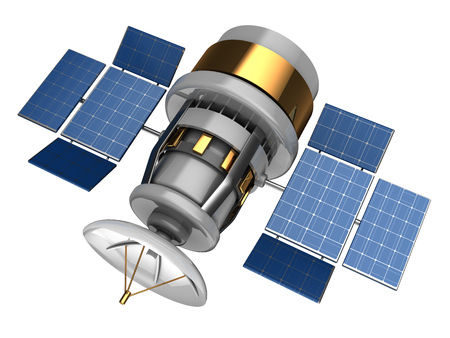 sattelite: 3d illustration of navigation satellite over white background