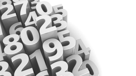 numbers background: abstract 3d illustration of numbers background, white color Stock Photo