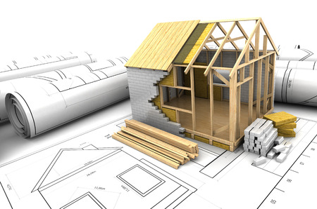 prefabricated: 3d illustration of house design project over blueprints Stock Photo
