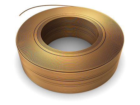 metal wire: 3d illustration of copper metal wire coil over white background