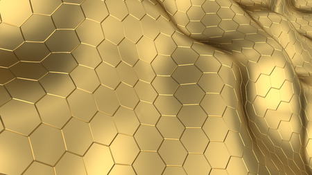 refelction: abstract 3d illustration of yellow metal hexagons background
