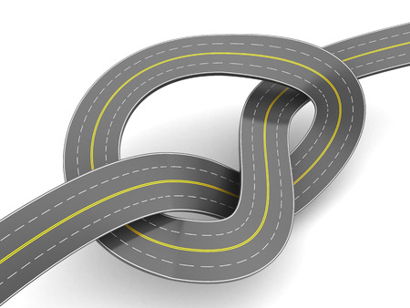 slowdown: abstact 3d illustration of aspalt road knot, over white background Stock Photo