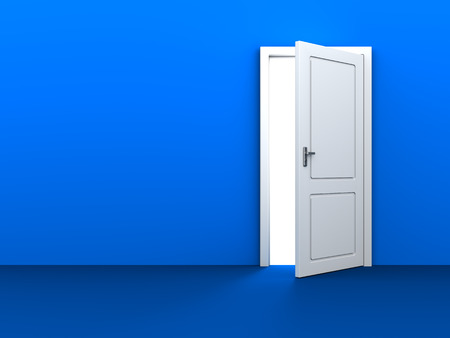 white door: 3d illustration of blue background with white door