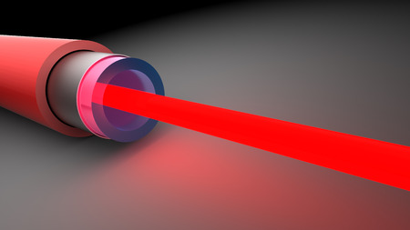 3d illustration of fiber optics with red laser light