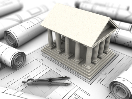 industry architecture: 3d illustration of an ancient building reconstruction project